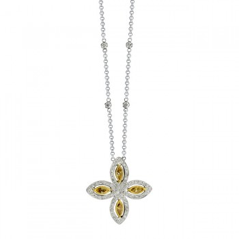 18k White and Yellow Gold Golden Marquise Diamond Four Stone Necklace - NK15115-WY