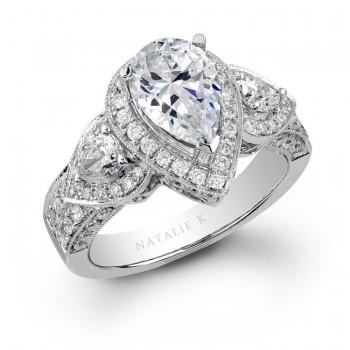 18k White Gold Pear Shaped Side Stone Diamond Engagement Ring