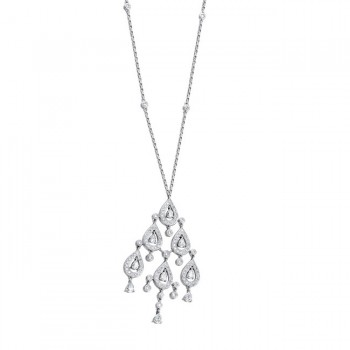 18k White Gold Droplet Chandelier Diamond Necklace - NK15211-W