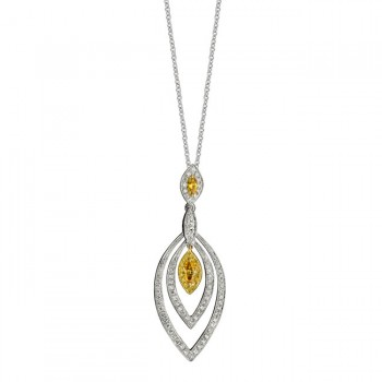 14k White and Yellow Gold Marquise Golden Diamond Pendant - NK15323GD-WY