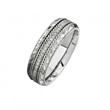 14k White Gold Detailed Pave Round Diamond Men's Band - NK15468-W