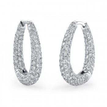 18k White Gold Pave Hinged Diamond Earrings - NK15883W