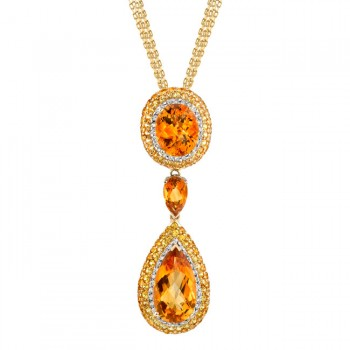 18k White and Yellow Gold Citrine Yellow Sapphire Diamond Necklace - NK16113CT-YW