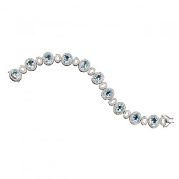 14k White Gold Aquamarine Diamond Bracelet - NK16138AQ-W
