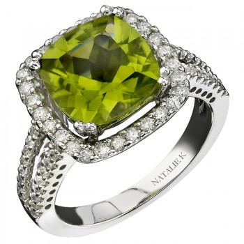 14k White Gold Peridot Diamond Halo Split Shank Ring NK16212P-W(C)