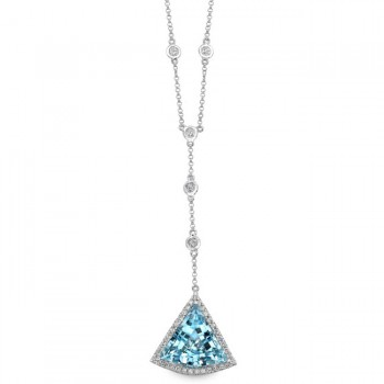 14k White Gold Blue Topaz Diamond Triangle Necklace - NK16390BTPZ-W