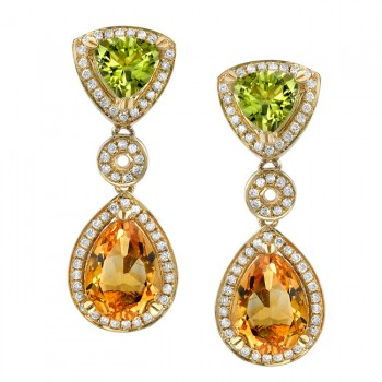 14k Yellow Gold Diamond, Citrine and Peridot Earrings NK16415MC-Y