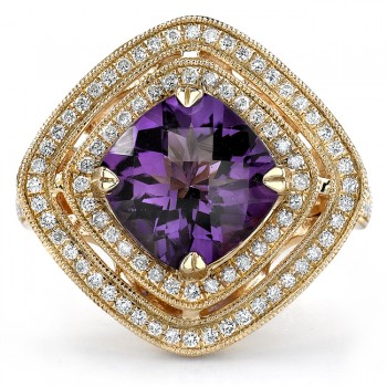 14k Yellow Gold Amethyst Diamond Ladies Band - NK16418AM-Y