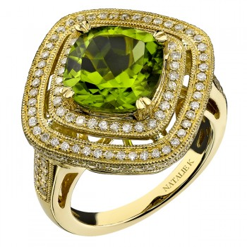 14k Yellow Gold Peridot Diamond Ring NK16418P-Y