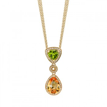 14k Yellow Gold Diamond, Citrine and Peridot Pendant NK16419MC-Y