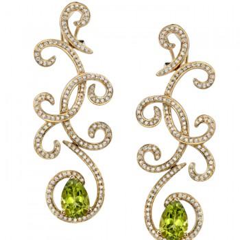 14k Yellow Gold Pave Peridot Diamond Earrings - NK16451P-Y