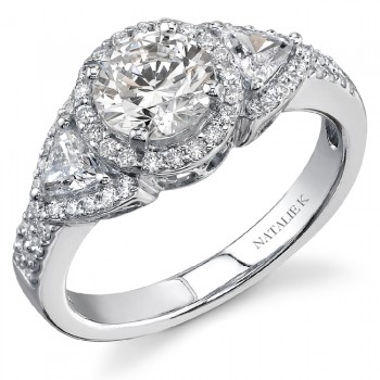 14K White Gold Three Stone Halo Diamond Engagement Ring NK16498-W
