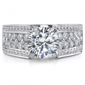 14k White Gold Pave Diamond Fringe Semi Mount Engagement Ring - NK16676-W