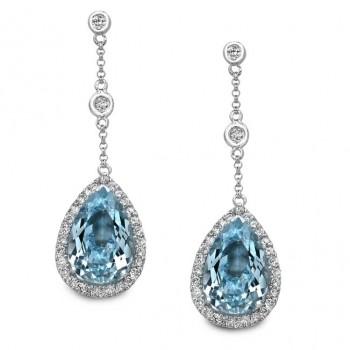 14k White Gold Sky Blue Topaz Diamond Earrings - NK16942BTPZ-W