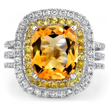 14k White Gold Citrine Double Halo Diamond Cocktail Ring - NK17214CT-W