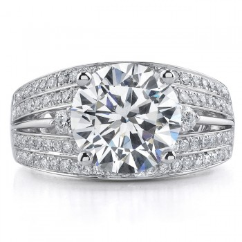 18k White Gold Four Row Pave Diamond Engagement Semi Mount - NK17713-W