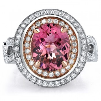 14k White and Rose Gold Pink Tourmaline Diamond Ring - NK17968PNKT-WR