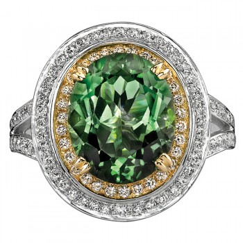 14k White and Yellow Gold Green Garnet Halo Diamond Ring NK17979GG-WY
