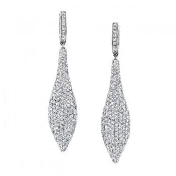 18k White Gold Pave Round Diamond Earrings - NK17995W