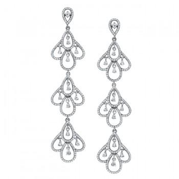 18k White Gold Scallop Chandelier Diamond Earrings - NK18028-W