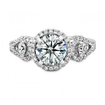18k White Gold Halo Diamond Engagement Ring with Side Stones NK18728-W