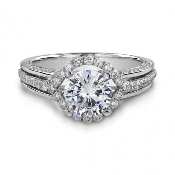 14k White Gold Halo Diamond Engagement Ring NK18775-W