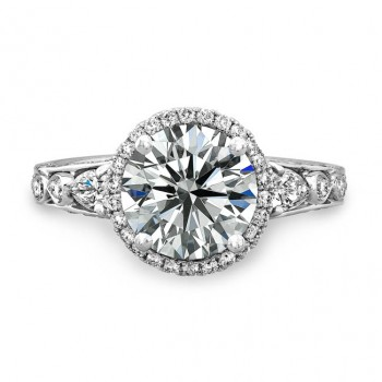 18k White Gold Diamond Halo Engagement Ring NK18802-W