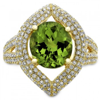 14k Yellow Gold Peridot Pave Diamond Cocktail Ring NK19371P-Y