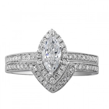 14k White Gold Marquise Halo Diamond Semi Mount Ring Bridal Set NK19372WE-W