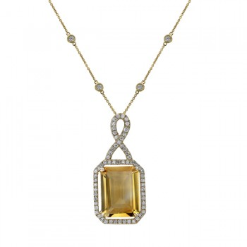 14k Yellow Gold Citrine Diamond Necklace NK19375CT-Y
