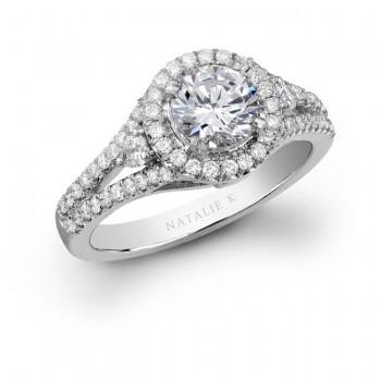 18k White Gold Three Stone Halo Diamond Engagement Ring