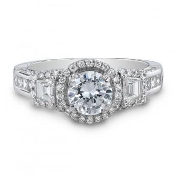 18k White Gold Three Stone Trapezoid Diamond Halo Engagement Semi Mount Ring NK19494-W