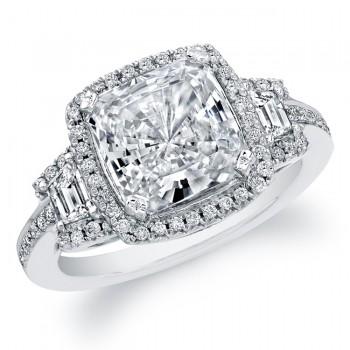 14k White Gold Halo Three Stone Halo Diamond Engagement Semi Mount Ring NK19520-W