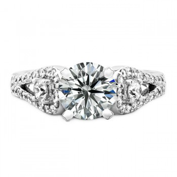 18k White Gold Three Stone Diamond Engagement Semi Mount Ring NK19523-W