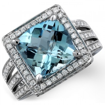 14k White Gold Aquamarine Diamond Cocktail Ring NK19563AQ-W(C)
