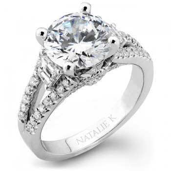 18k White Gold Split Shank Pave Prong Diamond Engagement Semi Mount - NK19593-W