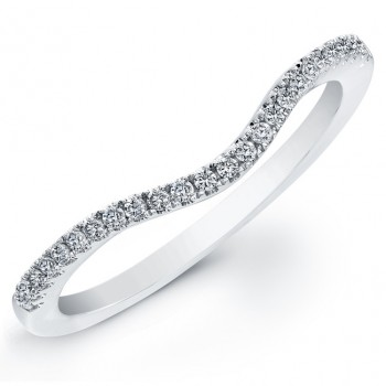 14k White Gold Pave Diamond Wedding Band NK19640WED-W