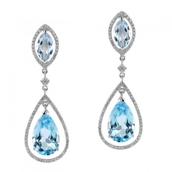 18k White Gold Blue Topaz Diamond Drop Earrings NK19982BTPZ-W
