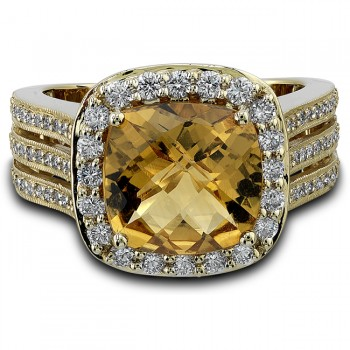 14k Yellow Gold Split Shank Diamond Citrine Ladies Ring NK20063CT-Y