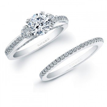 14k White Gold Micro Prong Diamond Bridal Ring Set NK20401WE-W