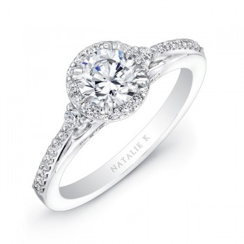 14k White Gold Three Stone Diamond Halo Engagement Semi Mount NK20505ENG-W