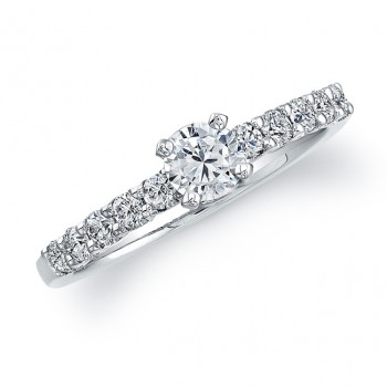 14k White Gold Prong Diamond Engagement Ring - NK22186ENG-W