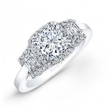 18k White Gold Diamond Engagement Ring with Trapezoid Side Stones