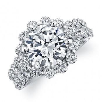 18k White Gold Prong Set Diamond Halo Engagement Ring
