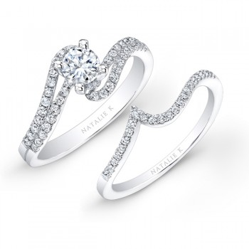 18k White Gold Split Swirl Shank Prong Diamond Bridal Set