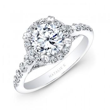 18k White Gold Halo Diamond Engagement Ring NK25369-18W