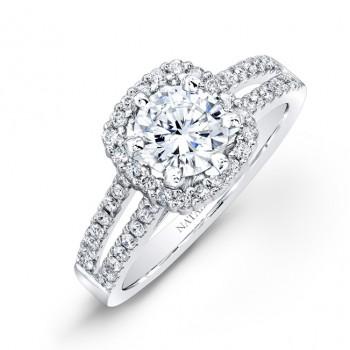14k White Gold Split Shank Square Halo Diamond Engagement Ring