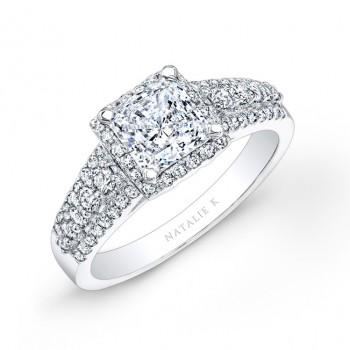 14k White Gold Square Halo Three Row Diamond Engagement Ring