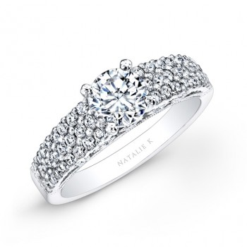 18k White Gold Pave Bezel Set White Diamond Engagement Ring
