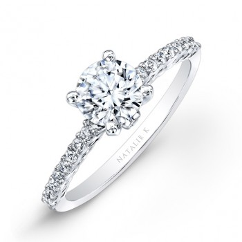 18k White Gold Prong Diamond Engagement Ring